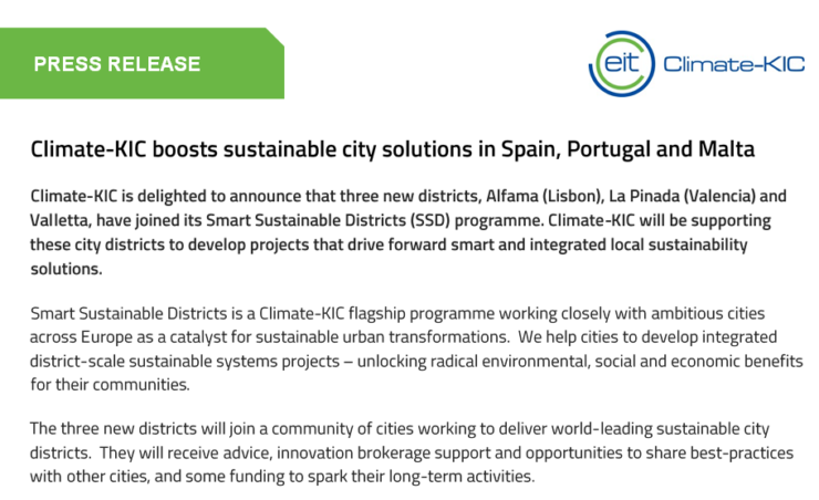 Press Release Smart Sustainable Districts