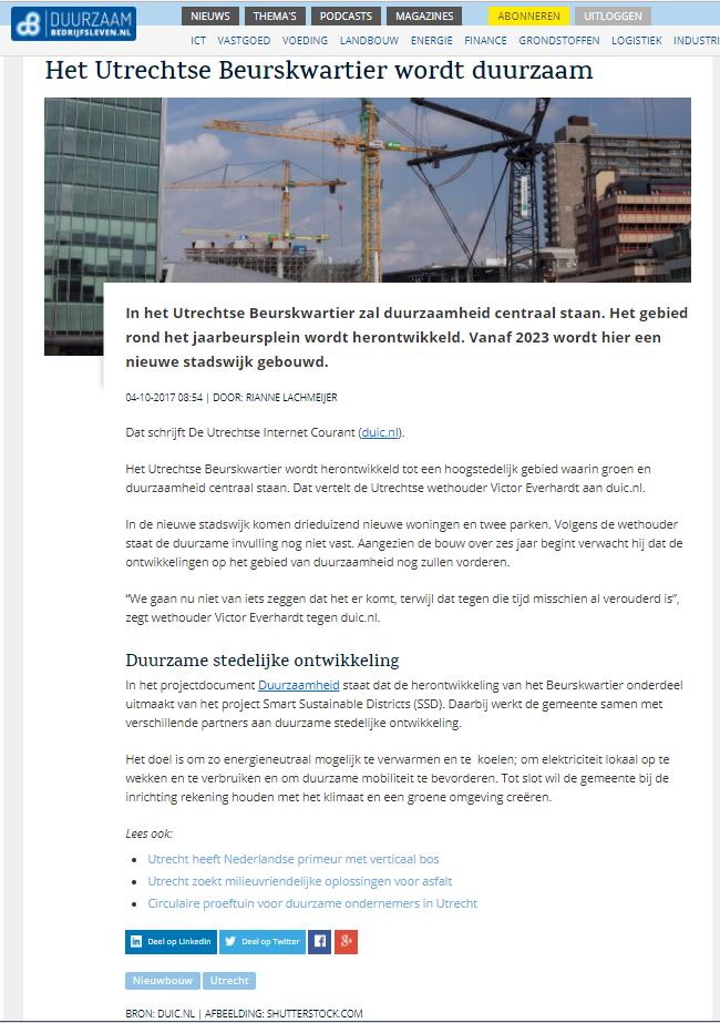 SSD duurzaamheid Utrechtse beurskwartier